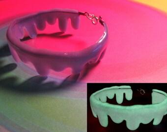 Glow in the Dark Purple Slime Bracelet - Dripping Candy Goo