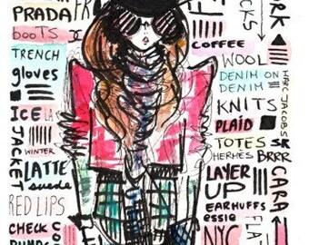 Fashion illustration, Fashion print, Fashion illustration print, Girls Art, Quirky art, Girls room print, Fashion Girls