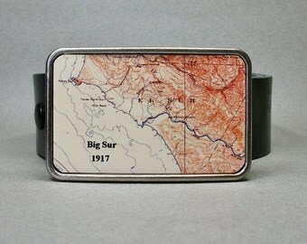 Belt Buckle Big Sur California Vintage Map for Men or Women