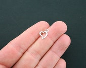 20 Hearts Charms Antique Silver Tone 2 Sided - SC4593