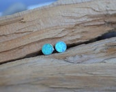 SALE 30% OFF - Blue OPAL Round Stud Earrings - Sterling Silver Posts - 6mm Light Blue Flat Round Opal Stone