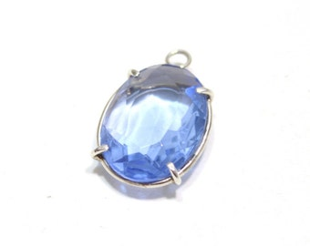 Vintage Blue Glass In Sterling Silver Pendant