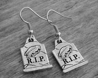 Double Sided Edgar Allan Poe Nevermore The Raven RIP Tombstone Gravestone Earrings Halloween Jewelry Gothic Goth Cemetery Graveyard Horror
