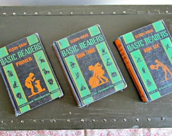 A Trio of Elson Gray Basic Readers - Three Antique 1930s Children's School Primers - Pre-Loved - Art Deco Style Covers
