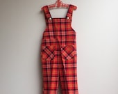 vintage groovy 70s bright red check overalls: size 1-2