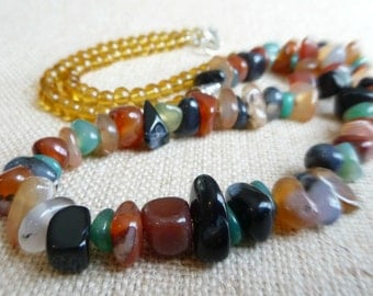 Polished Agate Gemstone and Amber Glass Bead Necklace, 30 Inch Statement Necklace, Chunky Bohemian Stone Jewelry, Festival Necklace, Boho