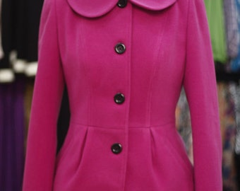 Lovely Pink Peter Pan Collar  Pleated Waisted Wool blend Coat - Also available in Black, Orange - ORTK05