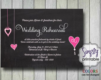 Wedding Rehearsal Dinner Invite Chalkboard & Pink