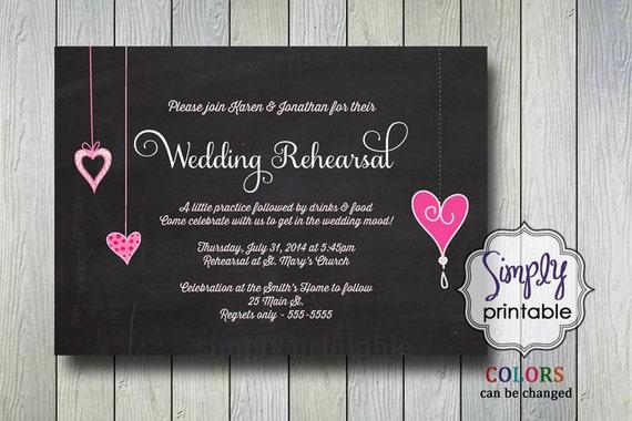Wedding Rehearsal Dinner Invite Chalkboard & Pink