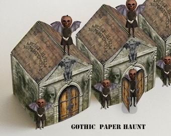 Printable halloween Haunted House DIY goth style steampunk instant download ouija board roof