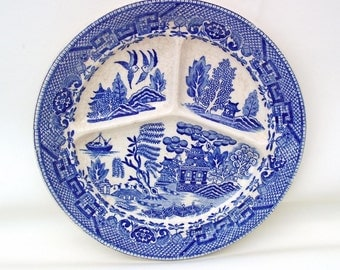 Vintage Grill Plate | Blue Willow | Divided Dish | Occupied Japan | Serving Tray | Moriyama Divided Tray