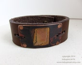 Mens Bracelet: Leather Cuff with State of Indiana.