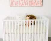 """Washed White Linen Crib Skirt With Up To A 23"""" Drop EXTREMELY FULL and Custom Made!"""