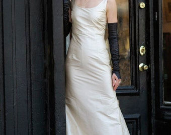 Champagne Simple Fit-and-Flare Silk Wedding Dress