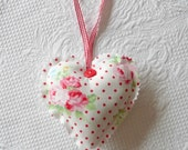 Shabby Chic Floral Hanging Heart Ornament Fabric Hearts Red cottage rose Tree ornament europeanstreetteam