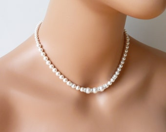Pearl Bridesmaid Necklace, Single Strand Pearl Necklace, Bridal Party Jewelry,  Pearl Wedding Jewelry, Classic Pearl Jewelry, WHITE or IVORY