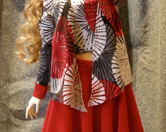 bjd clothes BLACK skirt with Fireworks top and sweater. NOTE photo shows red skirt but the skirt is BLACK