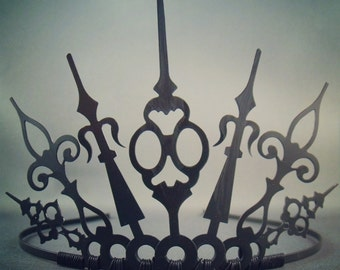 Charon - Gothic Crown Gothic Tiara Evil Queen Crown Evil Queen Tiara black Crown Black Tiara Evil Queen Cosplay Gothique - Ready to Ship