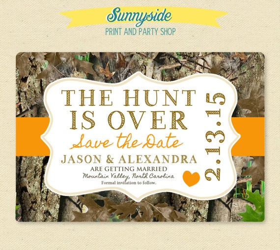 THE HUNT is OVER Camo Save the Date Card, Camouflage Wedding Save the Date Invite, Printable, You Choose color!