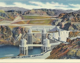 1930s Vintage Boulder Dam Postcard of the Intake Towers and the Arizona Spillway