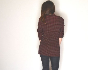 Gingham Check Blazer 90s Vintage Fitted Jacket Brick Red Black Twin Peaks Style