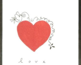 Red Heart Card - Love Birds - Wedding - Anniversary - Original Hand Printed Card, Linocut - Handmade