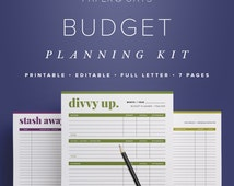 Budget Planning Kit – Editable, Bill Tracker, Bill Pay Organizer,  Personal Finance, Money Management  //  Household PDF Printables