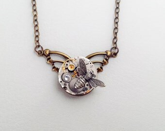 Winged & Petite - Steampunk Inspired with a bee and crystal - Silver and Brass stunner