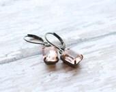 NEW Blush Rhinestone Dangle Earrings - Teal Bridesmaid Earrings - Flowergirl Earrings - Vintage Teal - Bridal Jewelry - Coral Earrings Blush