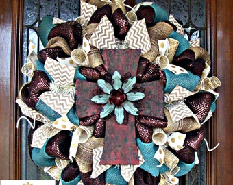 Brown and Turquoise Maroon Rustic Cross Wreath