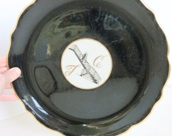Syracuse China Plate Restaurant Hotel Ware TC Logo Scalloped Black with Gold Trim Wedding Bride and Groom