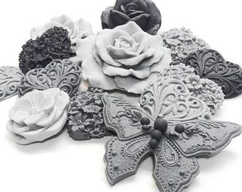 Shades of Grey - Ooh La La! Decorative Gift Soaps - Grey Heart Floral Soaps - SET of 8