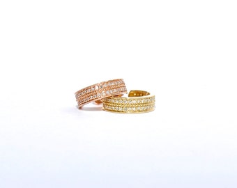 14k Gold Micro Pave Diamond Ear Cuff