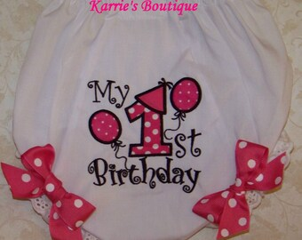 1st Birthday Diaper Cover / Hot Pink & Black / Bloomers / Cake Smash / Photo Prop / Newborn / Infant / Baby / Girl / Toddler / Boutique