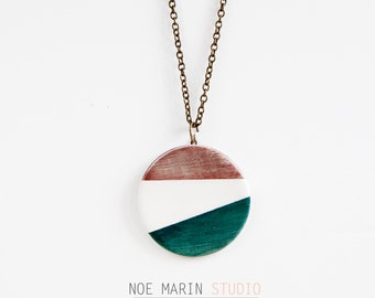 Geometric ceramic long necklace, delicate elegant pendant, Ceramic pendant necklace minimalist, Large pendant necklace for her, Noe Marin