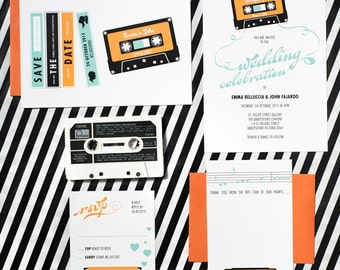 Mix Tape Music Wedding Invitation Suite of 4 Printable