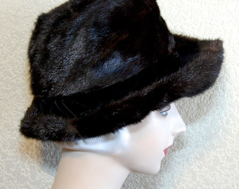 Vintage 60s does 20s Dark Chocolate Mink Brimmed Cloche Hat