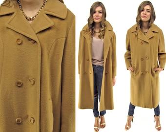 On Sale - Vintage 60s Camel Hair Coat, Mod Coat, Oversized, Mens Wear Coat, Minimalist Coat, Midi Coat Δ size: md / lg