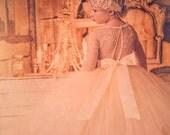 flower girl dress, long sleeve lace tutu dress, ivory and champagne flower girl dress