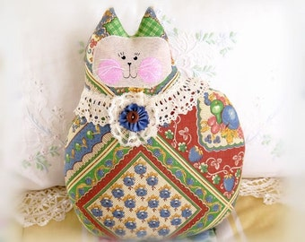 Large Cat Pillow Doll, Cloth Doll 9.5 inch, French Provence Fabric, Soft Sculpture Handmade CharlotteStyle Decorative Folk Art