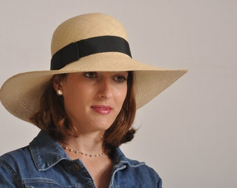 Ladies Panama hat for ladies / long brim straw hat for women UK /natural summer hat / sun protection hat made in Israel / beach hat