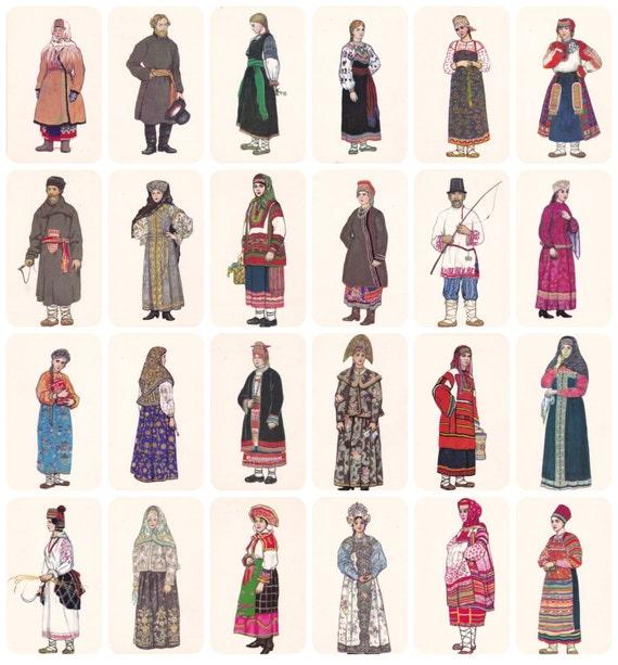 Russian Folk Costume Dress. Drawings By N. Vinogradova