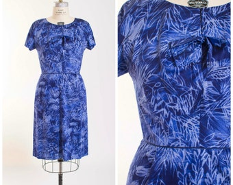 Vintage 1950s Dress Royal Blue Fern Batik Print 50s Vintage Wiggle Dress Batiked Abstract Pattern with Bow Bust Size Large