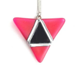 Glass Geometric Necklace in Pink & Black, Hand Painted Glass Pendant, Modern Glass Pendant