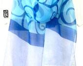 Hand Painted Silk Scarf Blue, Japanese Floral Scarf, Japanese Karakusa Vines Blue Silk Scarf, Silk Scarves Takuyo, Silk Chiffon Scarf,
