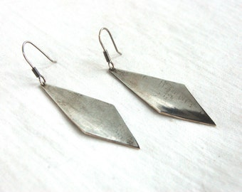 Mexican Dangle Earrings Diamond Shaped Vintage Sterling Silver Modernist Concave Diamonds Drop Dangles Taxco Mexico