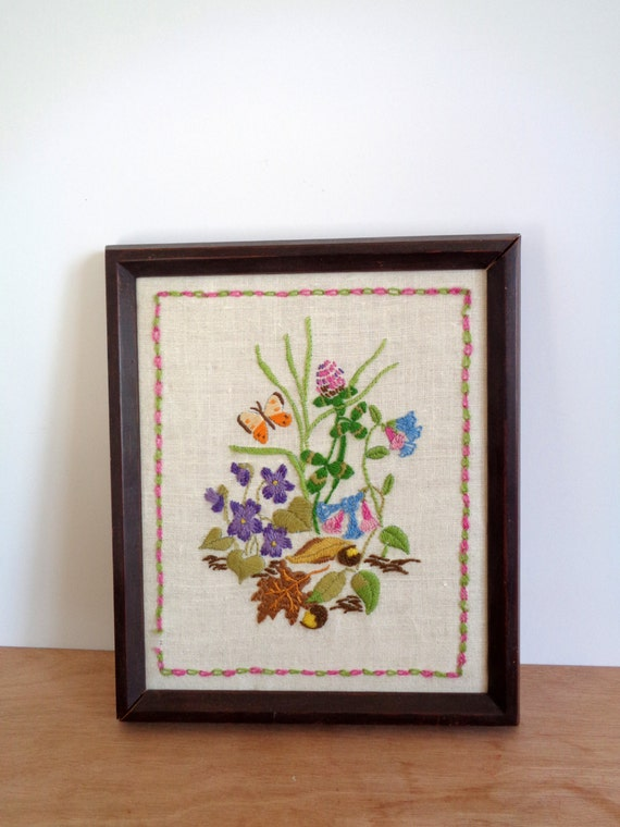 CLEARANCE Vintage Crewel Needlepoint Embroidery Framed Art