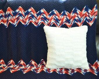 Vintage Afghan Blanket Chevron Crochet Blanket Throw Blanket Blue Blanket Crochet Blanket Bedding Blankets Home Decor