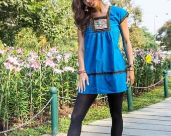 Karen Mini Dress-BLUE / Ethnic / Vintage