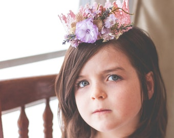 Lace Crown in Pink and Lilac - Mini Crown - Baby Lace Crown - Shabby Chic - Alice in Wonderland